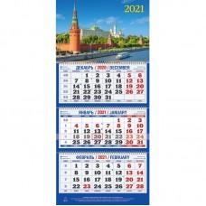 Календарь настенный трехблочный на 2021 год  Москва (310x685 мм) ассорти