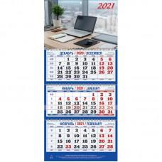 """Календарь настенный трехблочный на 2021 год """"Офис"""" (310x685 мм) ассорти"""
