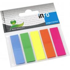 Закладки с липким краем 12*45 неон,пластик (5цв/20л.) ассорти