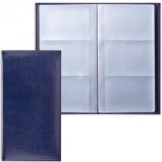 """Визитница  BRAUBERG """"Imperial"""", на 144 визитки, под гладкую кожу, темно-синяя"""