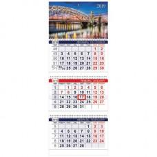 """Календарь настенный трехблочный  на 2019 год """"Город"""" (300х775 мм) ассорти"""