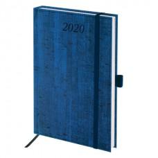 """Ежедневник на 2020 Brauberg """"Wood"""" А5 на резинке (168л./138*213мм) синий"""