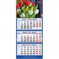 """Календарь настенный трехблочный на 2021 год """"Цветы"""" (310x685 мм) ассорти"""