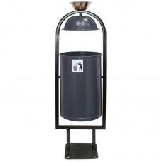 Урна для мусора  21 л. (стальная с крышкой и пепельницей) цвет в ассортименте