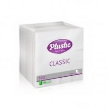 "Салфетки бумажные ""Plushe"" 24x24 ,белые (100 шт/уп)"