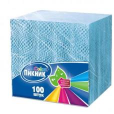 Салфетки бумажные «Пикник» (1-слойные, 24x24 см, голубые с тиснением, 100 шт/уп) купить в Екатеринбурге
