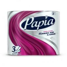 Бумага туалетная Papia 3-слойная белая (4 шт/уп)