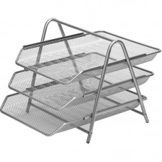 Лоток  горизонтальный  (3 секции, металлическая сетка, высота 267 мм, серебро) купить в Екатеринбурге