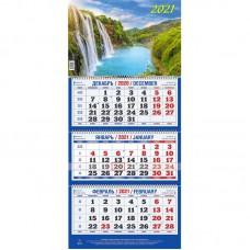"""Календарь настенный трехблочный на 2021 год """"Природа"""" (310x685 мм) ассорти"""