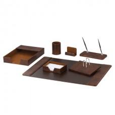 Набор настольный деревянный GALANT из экокожи (7 предметов под гладкую кожу) темно-коричневый