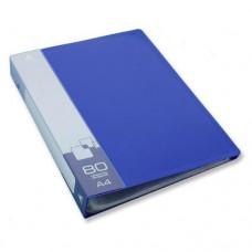 Папка на 80 файлов Бюрократ 0.8мм.синяя