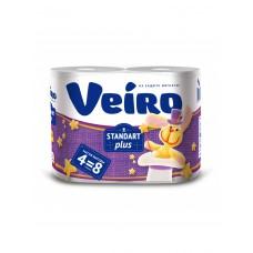 """Бумага туалетная  """"Veiro"""" Standart Plus, 2сл.,240л. (4 шт.уп)Выгодно!!!Большая намотка."""