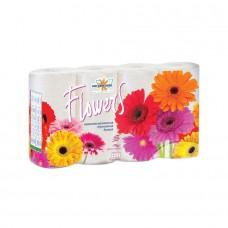 Бумага туалетная Мягкий знак Flowers 2-слойная 160 л. (8шт/уп)