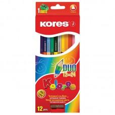 """Карандаши цветные """"KORES"""" 24 цвета ,2-х сторонние,точилка"""