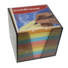 """Блок бумаги 9*9*9 см. """"Erich Krause""""в пластиковом корпусе, цветной"""