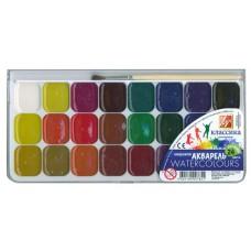 Краски акварельные 24 цв. Луч с кисточкой п/уп.