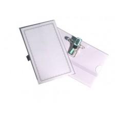 Бейдж с металлическим зажимом и булавкой, для карточек 90х60 мм.(плот.30 мк.)