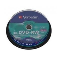Диск DVD-RW (10шт/уп.) VERBATIM 4.7Гб Cake Box