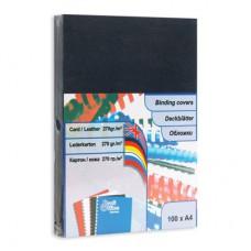 Обложки картонные  для переплета документов Кожа А4 100 шт/уп. черные