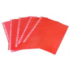 Папка-файл вкладыш цветной А4 красный (100шт/уп)