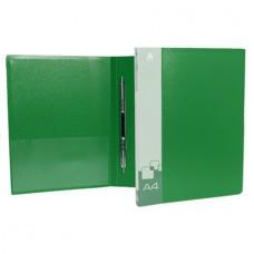 Папка скоросшиватель c пружинным механизмом+карман  0.7мм.  зеленая