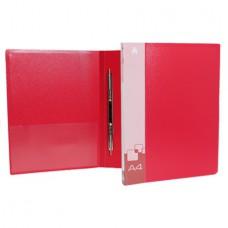 Папка скоросшиватель c пружинным механизмом+карман  0.7мм. красная
