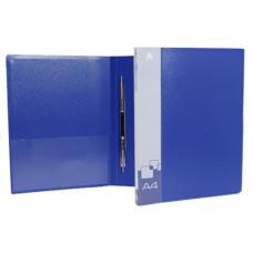Папка скоросшиватель+карман 0.7мм синяя