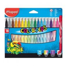 Фломастеры 18 цветов MAPED JUNGLE смываемые