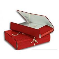Папка архивная  30мм ATTASHE бумвинил, 4 завязки, красная