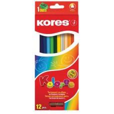 """Карандаши цветные """"KORES"""" 12 цветов,точилка,ассорти"""