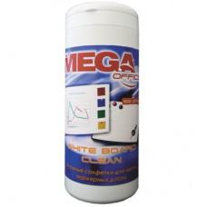 Салфетки для чистки белых маркерных досок Mega Office White Board Clean (100 штук, вискоза)