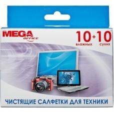 Чистящие салфетки ProMega Office универсальные для чистки техники (10сухих+10влаж.)