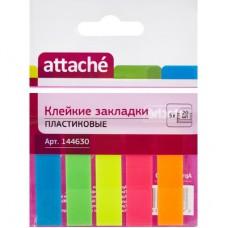 Закладки Attache пластиковые 5 цветов по 20 листов 12х45 мм