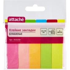 Закладки Attache бумажные 5 цветов по 50 листов 14х50 мм в Екатеринбурге