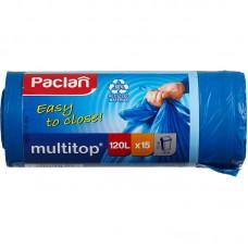 Мешки для мусора на 120 литров с завязками Paclan multitop синие (25 мкм, в рулоне 15 штук 70x120 см