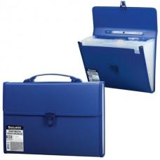 Портфель пластик. 13 отделений BRAUBERG синий