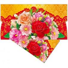 Открытка-конверт (цветы) д/денег 85*165 (10шт/уп)  в Екатеринбурге