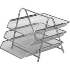 Лоток  горизонтальный Attache (3 секции, металлическая сетка, высота 267 мм, серебро)