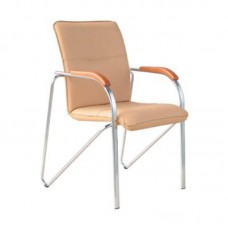 Кресло Samba бежевое (искусственная кожа/бук/хром)